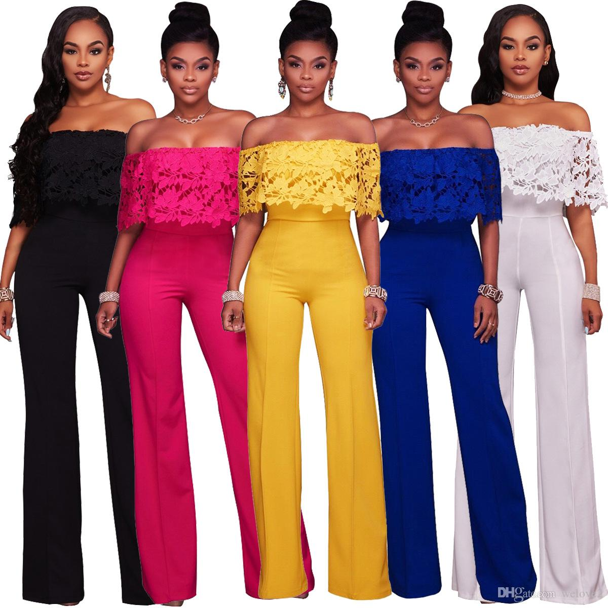 88c55c351314 2019 Fashion Elegant Rompers Womens Jumpsuit Off Shoulder Ruffles  White Black Yellow Bodysuit Strapless Loose Slim Casual Overalls Plus Size  XXL From ...