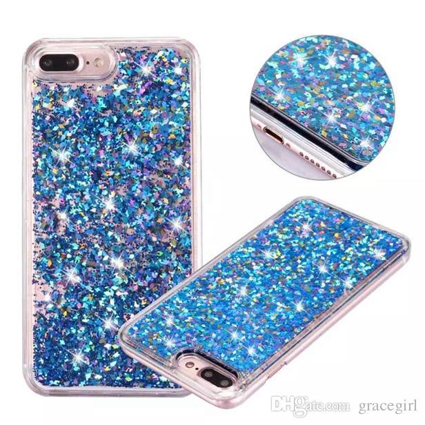 Quicksand Liquid Diamond Etui En Plastique Dur Pour Iphone X XS 8 7 I7 Iphone7 6 Plus 6 S Bling Glitter Feuille D'or Étoile Téléphone Couverture De Peau