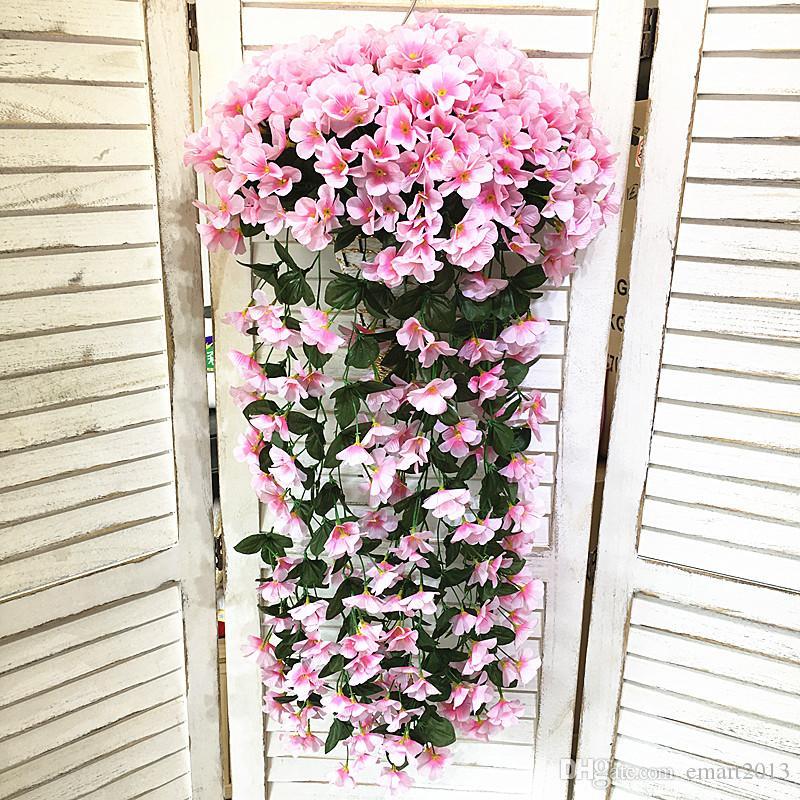 Gillyflower искусственный цветок тростника стены висели свадебные поддельные цветы свадебные букеты украшения сад ВАЗа цветы с бамбуковой корзиной