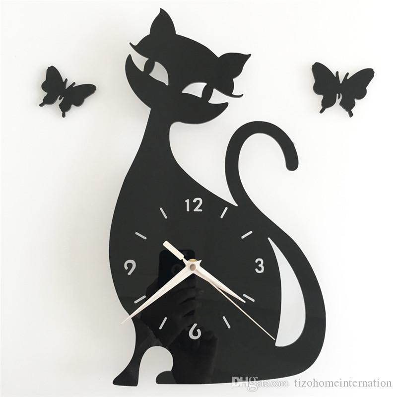 3d Diy 35x32cm Cute Cat Butterfly Wall Clock Modern Design