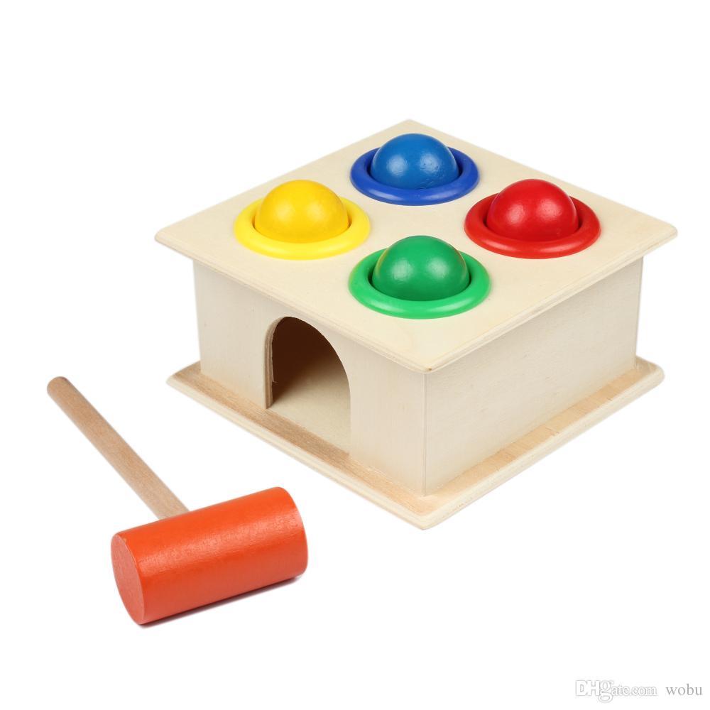 Neugeborene Bunte Hämmern Holzkugel Hammer Box Geometrische Blöcke Kinder Frühes Lernen Lernspielzeug Kinder Geschenk Spielzeug