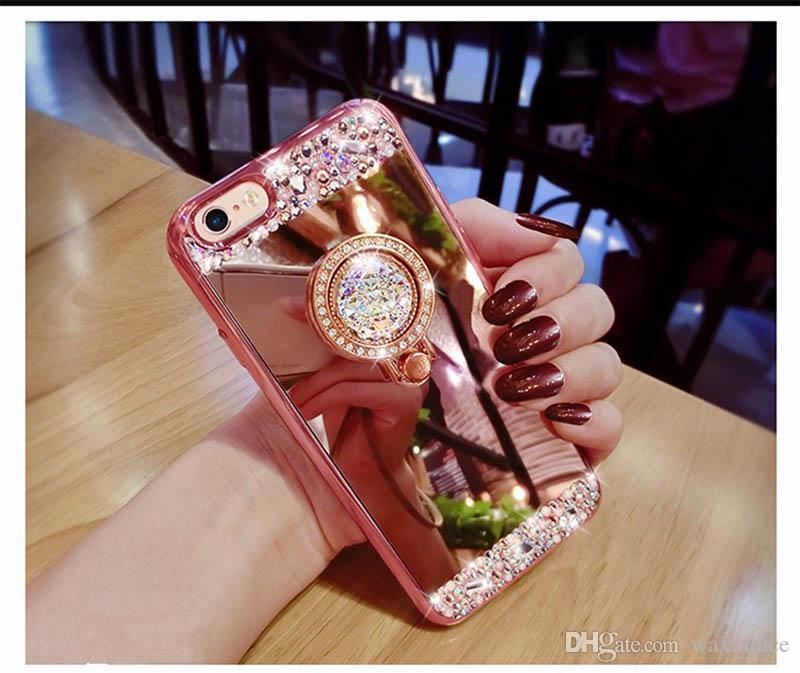 Phone Cases For IPhone 6 6S Luxury Women Diamond Mirror Case With Phone  Ring Stand Soft TPU Case For IPhone 6S Case Glitter Cheap Phone Cases Cool  Phone ... 3c6eaf4fe0