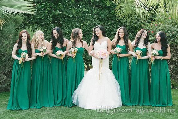 Green Long Bridesmaid Dresses 2019 Sweetheart Ruched Bodice A Line Floor Length Spring Fall Wedding Party Dresses Lace up Back Garden Cheap