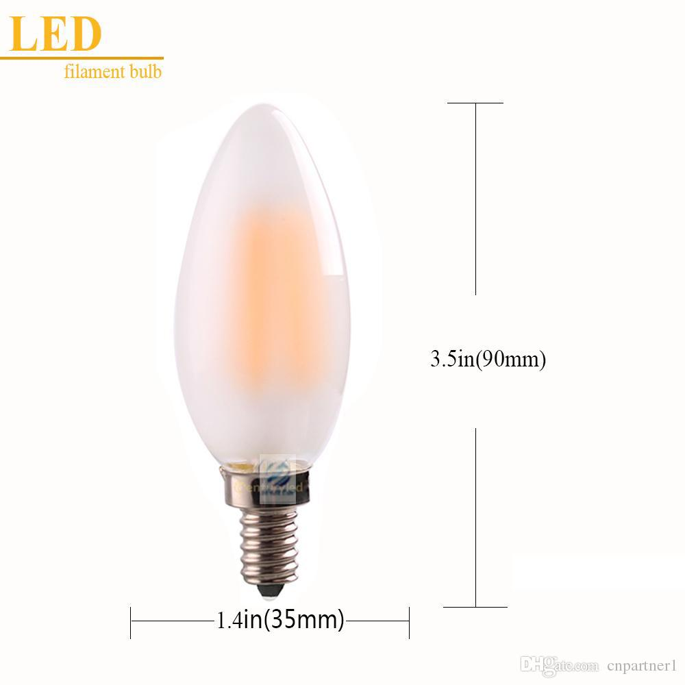 x30 Dimmable C35 C35T 4W 6W Retro LED Filament Bulb Frosted Candle Bulbs,E12 E14 Base, 110v 220v Warm White,Chandelier Decorative Lighting