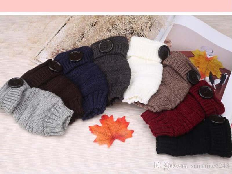 Guanti mezze dita a bottone in maglia da donna Guanti da polso a tinta unita polsini uomo autunno colore i