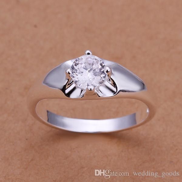 design de mode Inlay anneau de bijoux en argent en forme de coeur pour les femmes WR203, pierre précieuse blanche de la mode 925 argent Anneaux de mariage