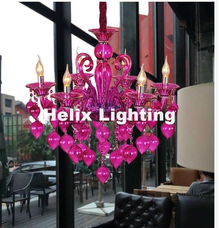 Envío Gratis Lámparas coloridas de la lámpara para la cafetería Bar de la boda Azul púrpura Rojo Amarillo Lámpara de la bola de cristal Lámpara moderna de LED