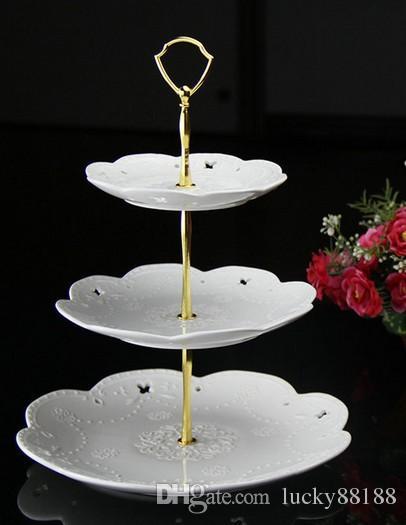 La forma del escudo 3 niveles de barras de soporte de pastel / mangos de pie de pastel, / bolsa. ajuste del soporte de la torta, oro y plata pueden mezclar