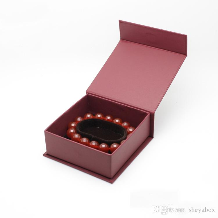 Silk Paper Jewelry Packaging Box Dark Red Jewellery Gift Ring Pendant Charm Necklace Bangle Bracelet Boxes