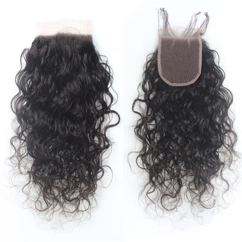Paquetes de cabello mojado y ondulado con cierre de encaje Paquetes de cabello humano brasileño 3 con cierre de encaje Nudos blanqueados Tramas de cabello humano de onda de agua