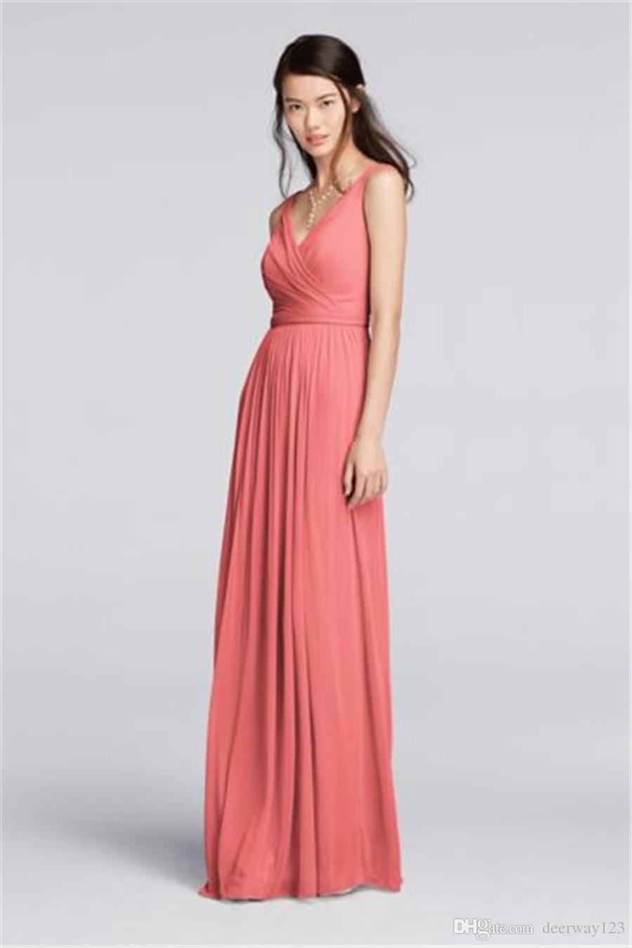 Kleider Abendkleider Lange V Sleeveless Chiffon Party Abendkleid Koralle Brautjunfer Mit F18056 Wedding Ansatz Gurt Dress uKJcTlF13