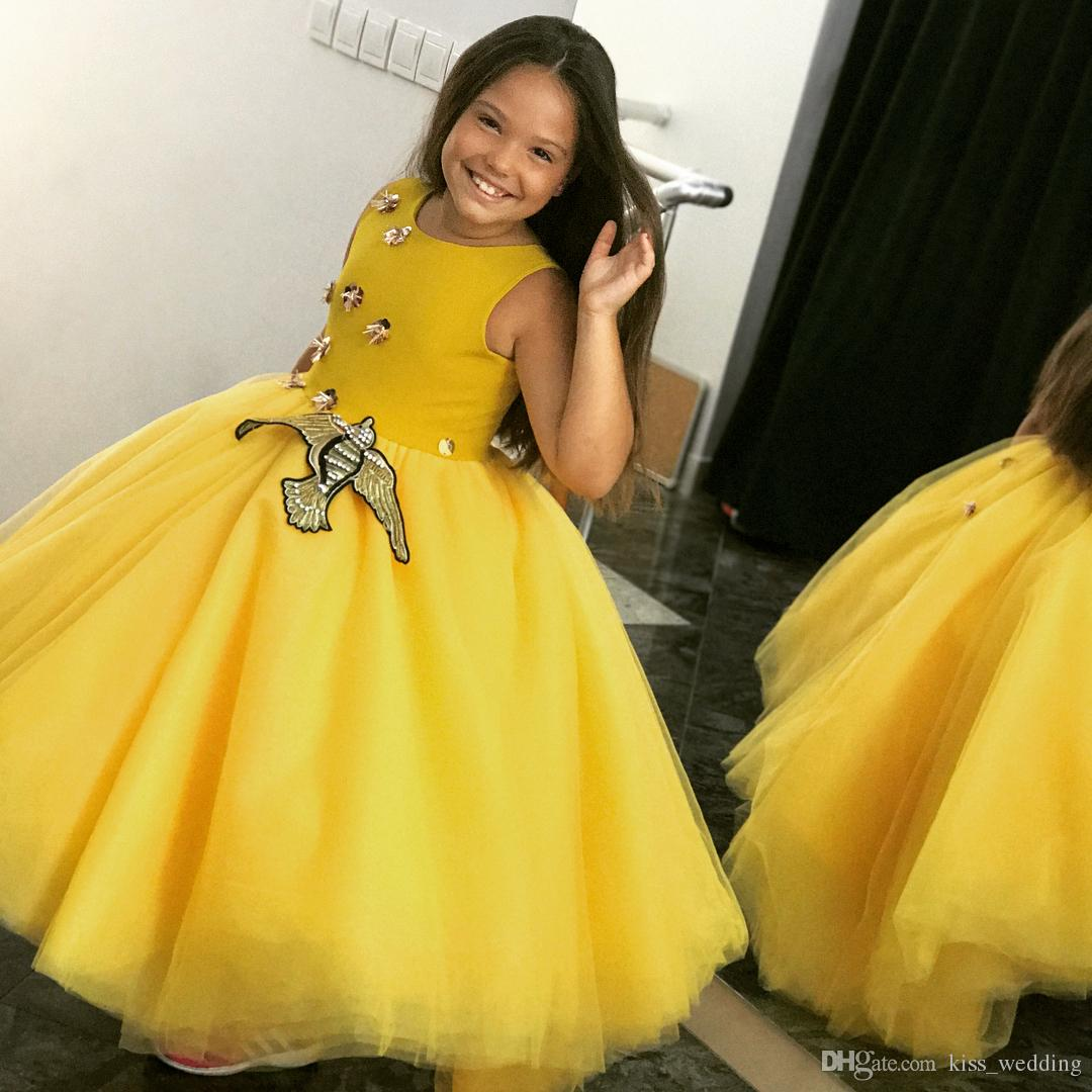 Simple Yellow Girls Pageant Dresses Ankle Length Bird Applique ...