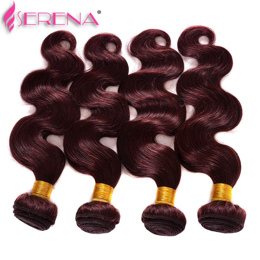 Burgundy Brazilian Virgin Hair Weaves Bundles Body Wave Virgin Peruvian Malaysian Indian Remy Human Hair Extensions Wine Red 99J Thick Soft