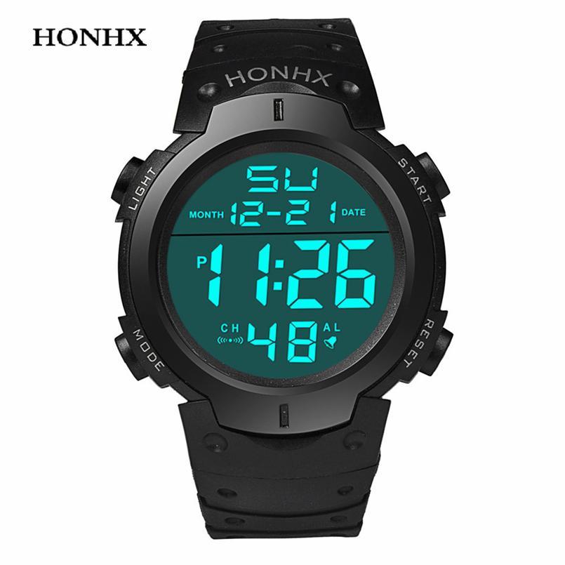 87294a358f6 Compre Atacado HONHX 2017 Homens Relógio De Pulso Eletrônico LED Relógio  Moda Homens Resistentes À Água Esporte Relógio Digital Montre Homme Relogio  ...