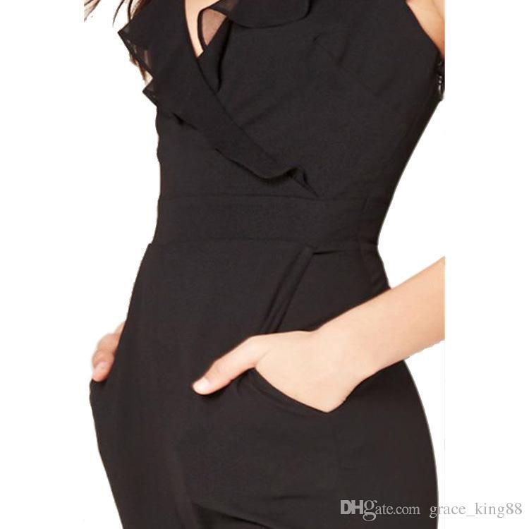새로 도착한 여성 Bodycon V-neck 검은 색 점프 슈트 Rompers Womens 패션 Jumpsuits Rompers SMLXL 고품질 무료 배송