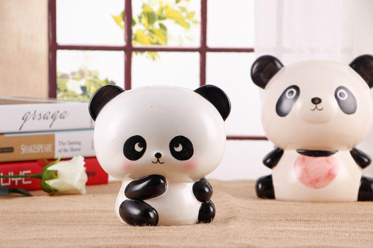Creative gifts, large panda piggy bank, piggy bank, children's lovely cartoon, ceramic coins, paper money, money storage pot
