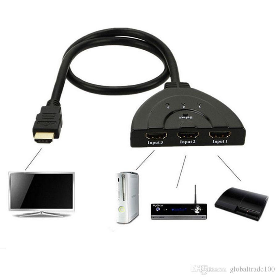 HDMI 3 in 1 Out Pigtail Adaptör HDMI Otomatik Anahtarı Genişletici Switcher Splitter Hub Kablo Ile HDTV 1080 P Toptan 100 adet Için Ücretsiz DHL