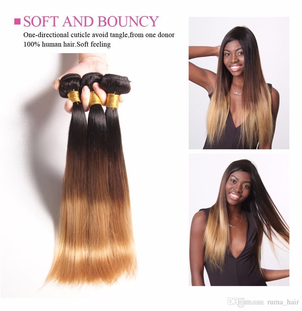 Blondes menschliches Haar spinnt 1B 4 27 malaysische peruanische Brazilain gerade gewellte Jungfrau 3 Bündel drei Ton blonde Ombre Haar-Einschlagfaden-Erweiterungen