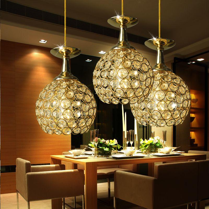 Modern Minimalist Crystal Gold Pendant Light Dining Room ...