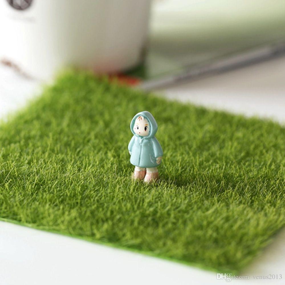 Gazon artificiel pelouse 15 * 15 cm fée jardin miniature gnome mousse terrarium décor résine artisanat bonsaï décoration pour BRICOLAGE Zakka