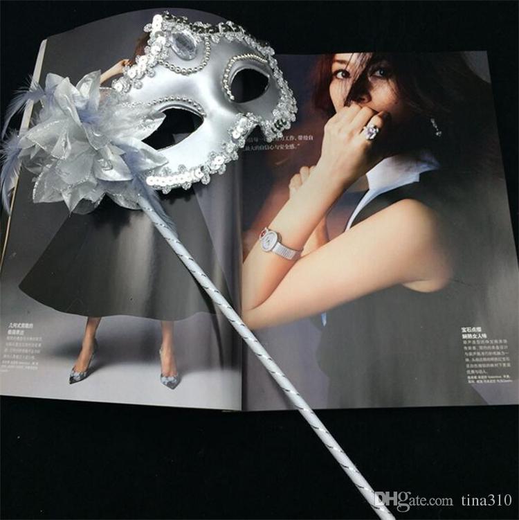 Masque de femme de luxe sur bâton Sexy Eyeline Masque vénitien Parti Masquer Sequin Dentelle Bord latéral Fleur Or Argent Noir Blanc Couleur I054