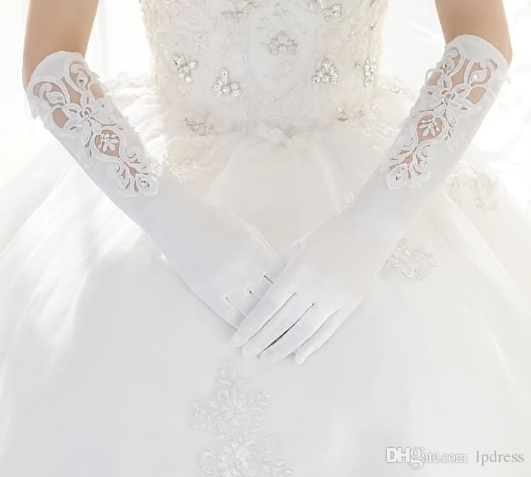 Elfenbein Bridal Gloves Long Hochzeit Zubehör Sheer mit Applique Hochzeit Glvoes 2017 Neue Ankunft Billig Kostenloser Versand