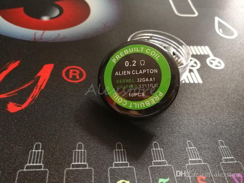 Alien clapton pre-built 코일 0.3 * 1.5 FLAT + 32GA 0.2ohm premade 코일 포장 vda rda rba에 대 한 prebuilt 난방 전선