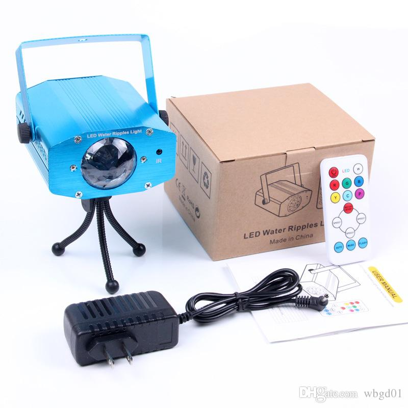 US Plug Remote 3W RGB LED Water Wave Ripple Effect Stage Light lighting Laser Projector with Mini Tripod for Party Show