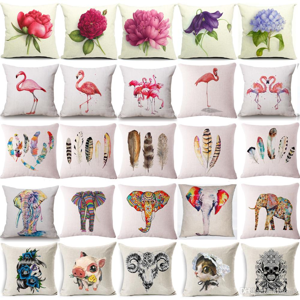 Pink Flamingo Plumage Cushion Cover Cotton Linen Sofa Chair Cushion