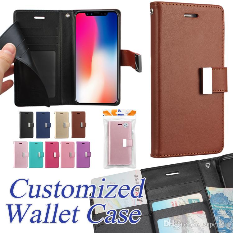 Premium Wallet Case For iPhone XS Max XR 8 7 Plus Flip Cover Kickstand Case For Samsung S8 S9 Plus Leather Cover Case OPP Bag