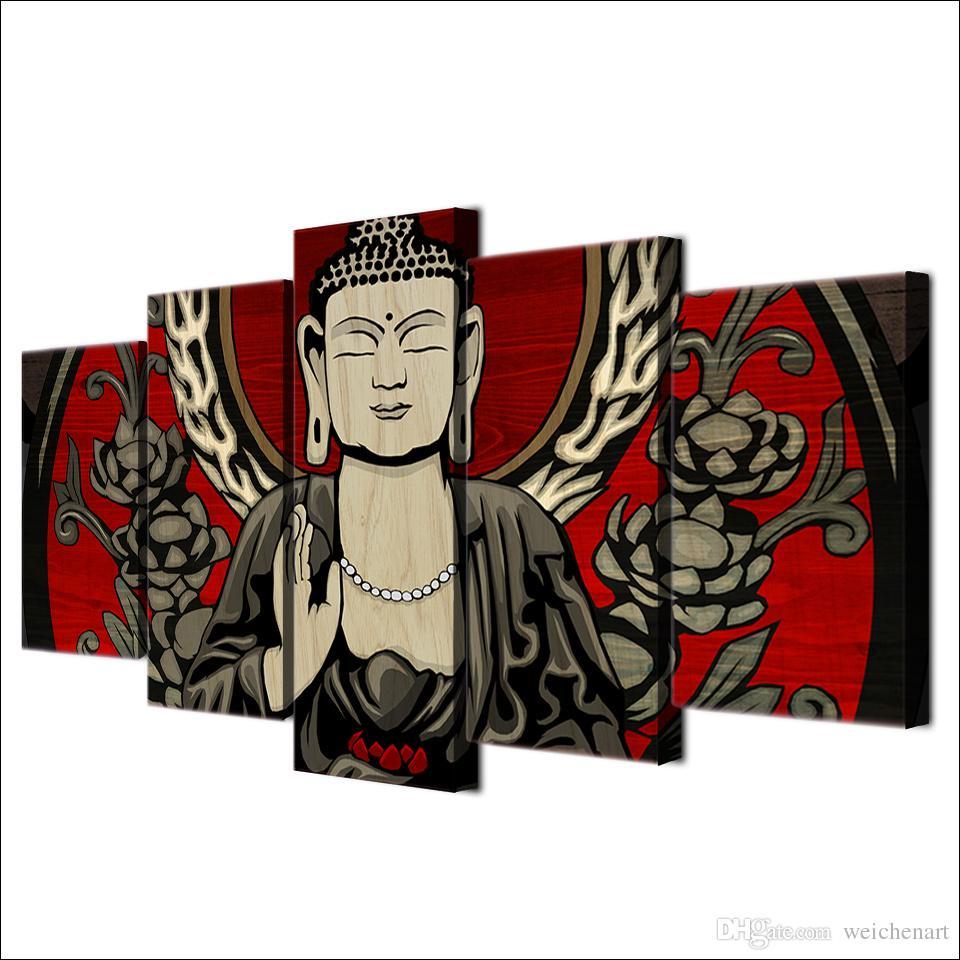5 Шт. / Компл. В Рамке HD Отпечатано Цветок Будды Медитация Дзен Аватар Wall Art Холст Декор Плакат Холст Абстрактная Живопись Маслом
