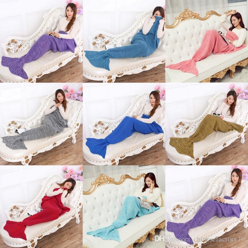 Compre 90x50cm Baby Mermaid Cola Bolsas De Dormir Colores Sólidos ...