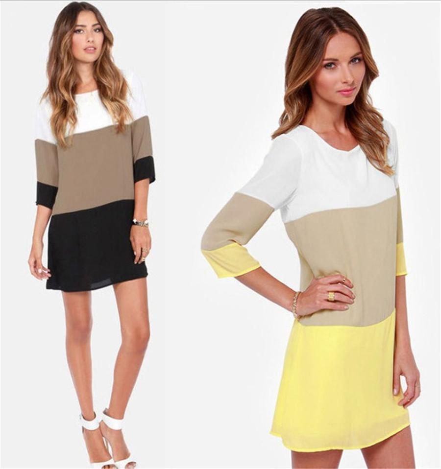 Women Dress Summer Casual 2017 Chiffon Contrast Color Blocks Half Sleeves Shift Tunic Plus Size Ladies Clothing Vestidos Party Dresses