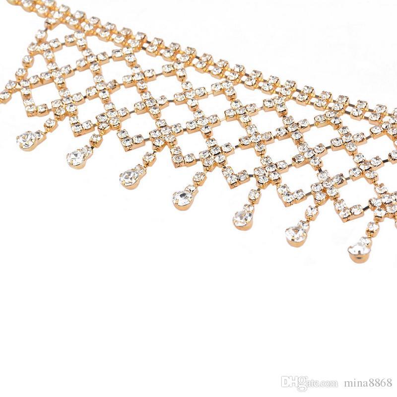 Mulheres borla choker colar multicamadas completa cz diamante cristal choker colar elegante jóias para festa boate presente atacado
