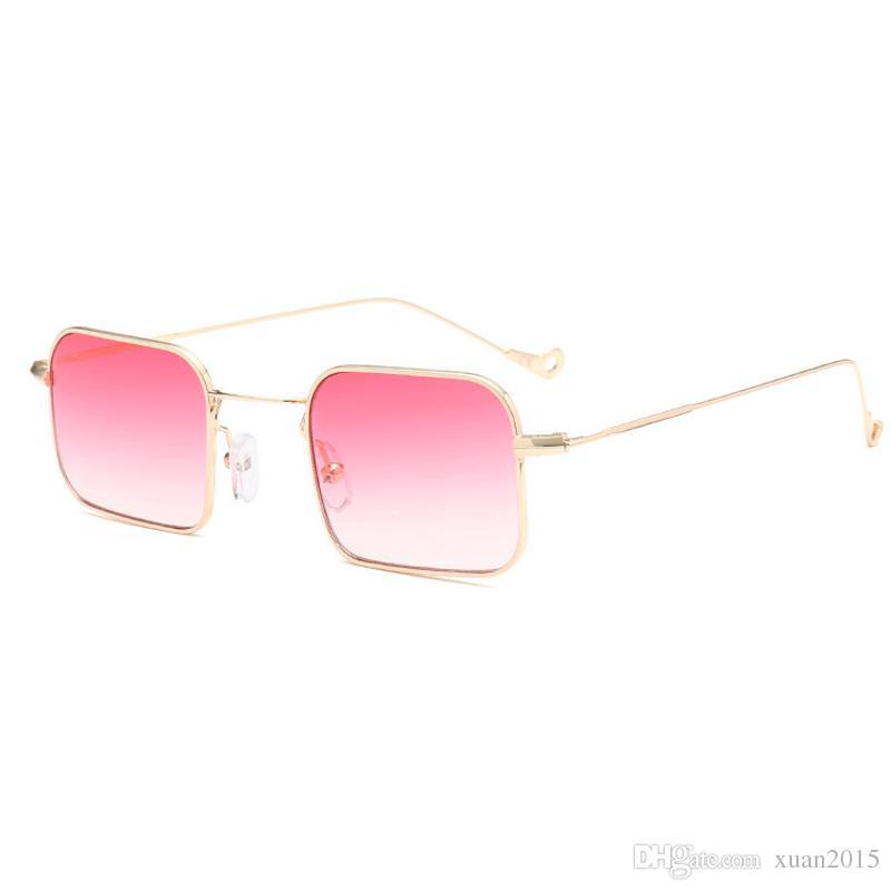 946f953cb5621 Compre Retângulo Fino Óculos De Sol Pequenas Mulheres De Metal Pequeno  Quadrado Óculos De Sol Dos Homens Claro Azul Verde Amarelo UV400 Y194 De  Xuan2015, ...