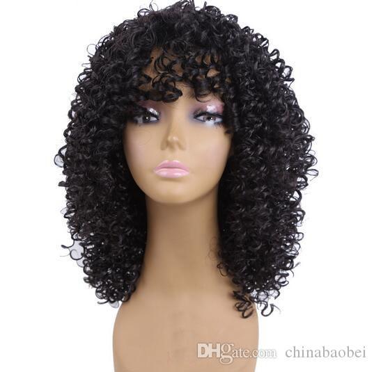 Parrucche sintetiche ricci afro-crespi lunghi le donne Parrucca taglio a coste Capelli neri naturali Cosplay Peruki Damskie Kanekalon