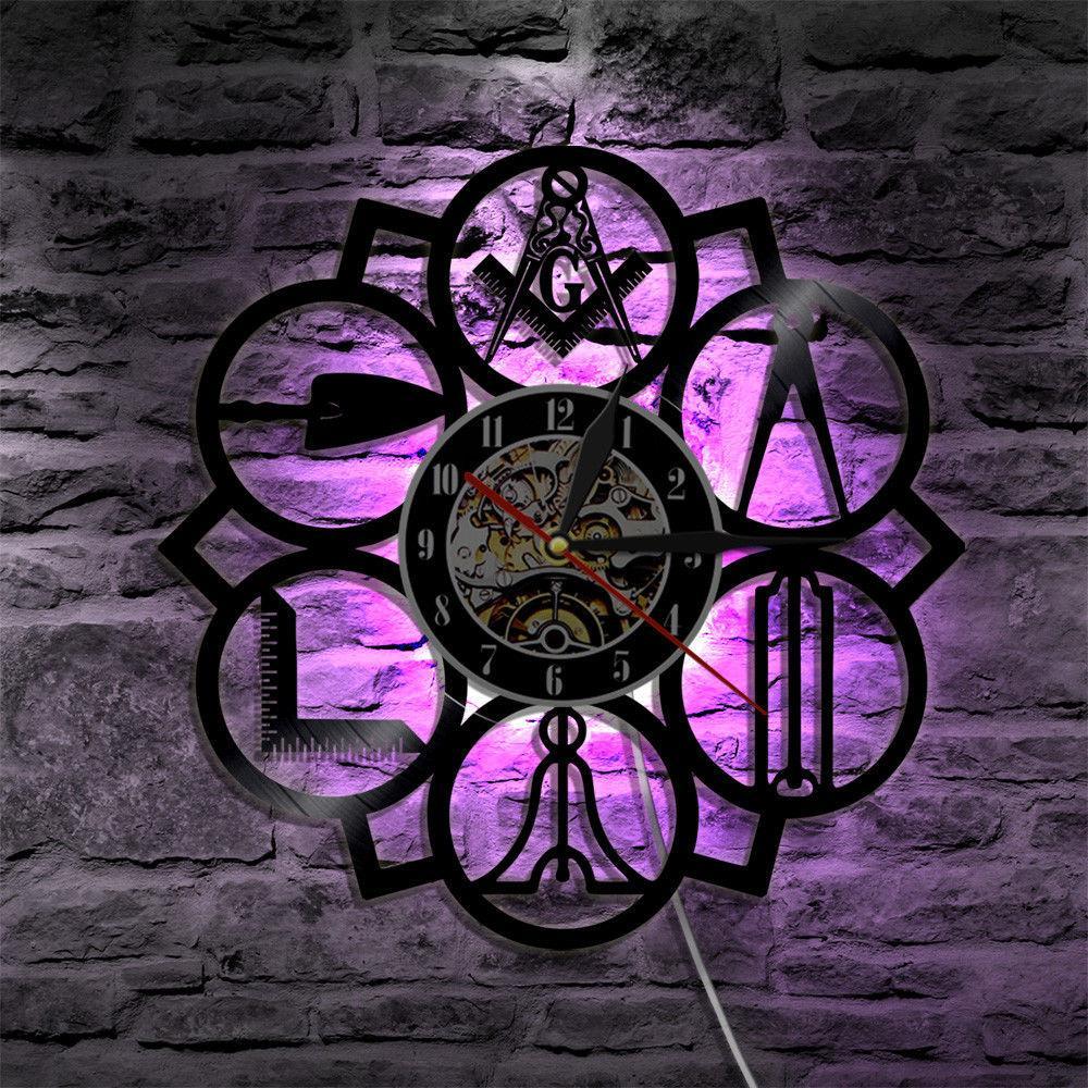 Masonic Free Mason Logo Led Vinyl Wall Clock Decorative Hanging  Modern Friend,if you order,Colour LED light, vinyl wall clock