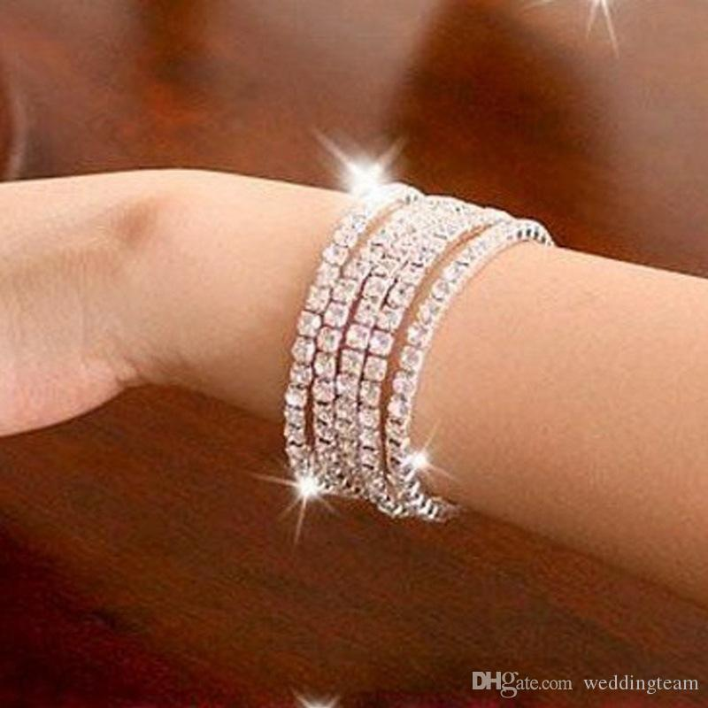 Sparkly Strasssteine Stretch Bangle Hochzeit Armbänder Bridal Schmuck Freies Verschiffen Günstige Armband für Braut Party Abend Ballkleid
