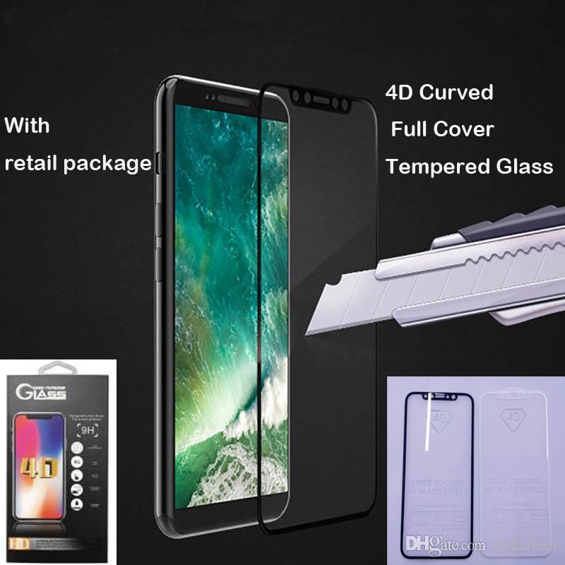 f0cfeec7822 Bajar Protector De Pantalla 4D 5D De Calidad Superior Para IPhone X 6 7 8  Más Protector De Pantalla Frontal De Vidrio Templado, Cubierta Completa 4D  Borde ...