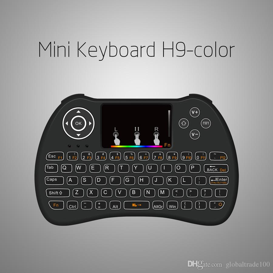 H9 2.4G Mini Wireless Gaming Backlit Keyboard With RGB iridescence Backlight Touchpad Air Mouse for PC Android TV BOX