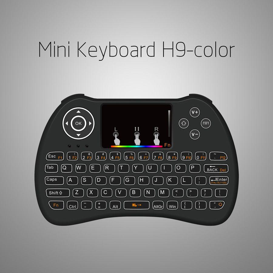 H9 2.4G Mini Wireless Gaming Backlit клавиатура с RGB подсветкой радужные Touchpad Air Mouse для ПК Android TV BOX