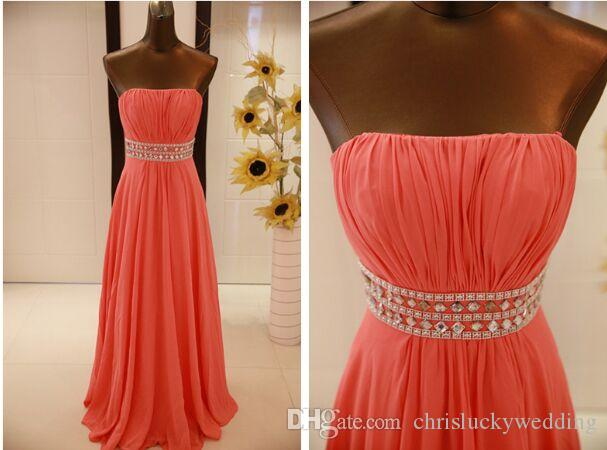 Water Melon Chiffon Prom Gowns Strapless Coral Colored And Purple Long Cheap Bridesmaid Dresses Wedding Guest Dresses Evening Wear
