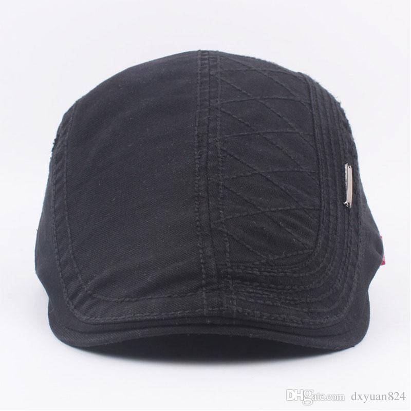 Unisex Mens Summer Sun Solid Cotton Flat Beret Cap Ivy Gatsby Newsboy Hunting Driving Cabbie Golf Hat Adjustable