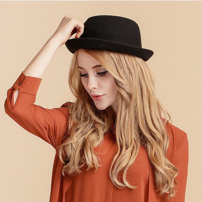 9da88da19d9e9 Women s Wool Bowler Hats Retro Style Derby Cloche Hats Winter Fedoras Caps  Cute Trendy Wool Felt Bowler Derby Fedora Cap Vintage Bucket Hats