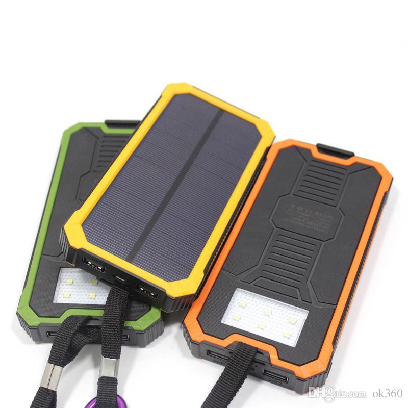 Водонепроницаемый Солнечный повербанк телефон для Xiaomi Iphone Power Bank 12000mAh 20000mAh зарядное устройство портативный мобильный банк Pover со светодиодной подсветкой