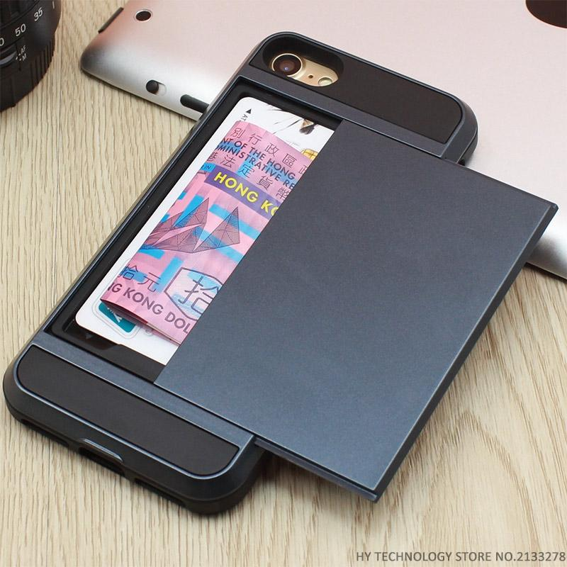 new style 6c837 925e0 Armor Phone Cases for iPhone 5S SE 5 5C 6 S 6S 7 Plus Luxury Shell Silicone  Plastic Credit Card Holder Slide Wallet Case Cover