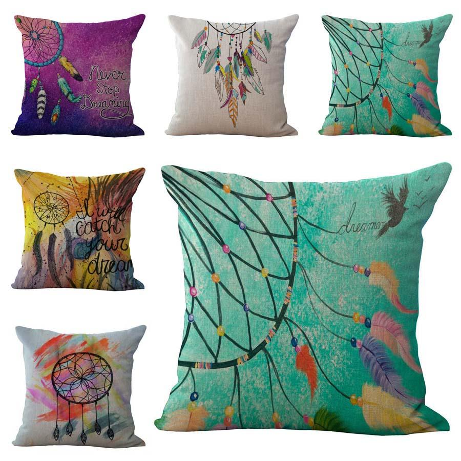 Indian Dreamcatcher Never Stop Dreaming Pillow Case Cushion cover Linen Cotton Throw Pillowcases sofa Bed Pillow covers Drop shipping PW451