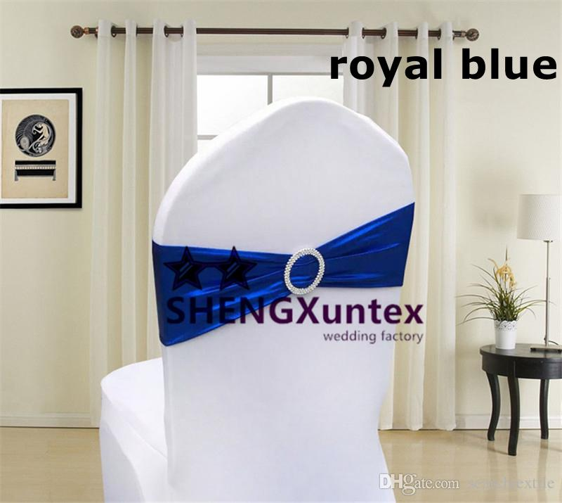 Good Quality Royal Blue Bronzing Lycra Spandex Chair Band For Chair Cover