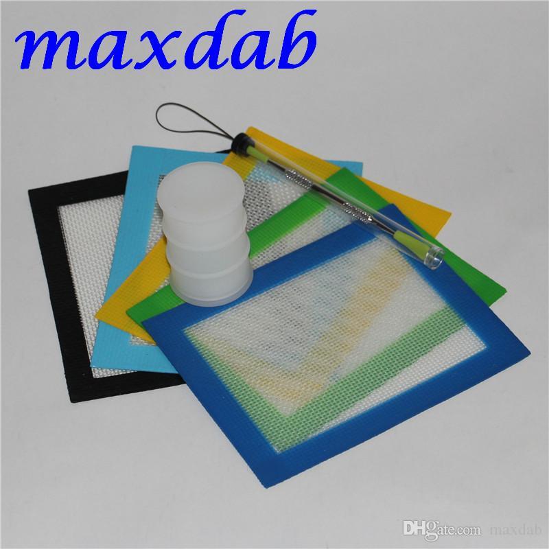 Silikon Yağı Balmumu Dab Slicks Aracı Kiti ile 14 * 11.5 cm Mat Pad yağ varil silikon Wax Dabbing Için kavanozlar Set