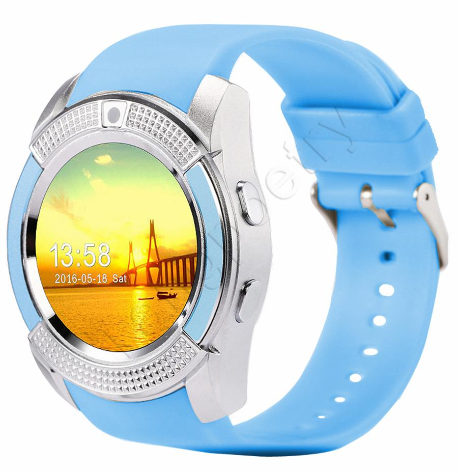 V8 montre intelligente Bluetooth montres Android avec appareil photo 0.3M MTK6261D Smartwatch pour téléphone Android carte Micro Sim TF avec emballage au détail